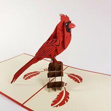 CARDINAL pop-up greeting card (Bird,fun,handmade,beautifu,unique gift/decor/art)