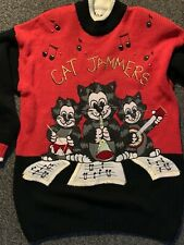 Large knit Vintage Jumper kawaii ugly Christmas  sweater Cat Jammers Italy