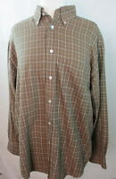 Turnbury Men's Beige Brown & Red Check Plaid Cotton Casual Shirt L Large