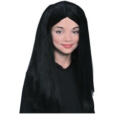 Morticia Addams Family Costume Wig Child Girls Black Vampire Witch Halloween