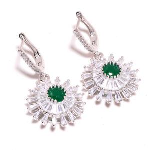 """Sakota Mines Emerald & White Topaz 925 Sterling Silver Earring 1.56"""" F2664"""
