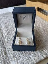 Blue Nile 18k yellow gold, pearl and diamond earrings - Appraised value $1,700!