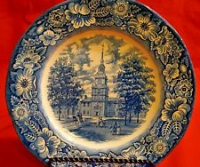 "LIBERTY BLUE INDEPENDENCE HALL STAFFORDSHIRE ENGLAND 10"" DINNER PLATES, SET OF 2"