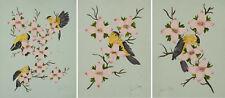 3 X A4 John Wayne Gacy réplica oriental pinturas Flores De Cerezo & Aves (art)
