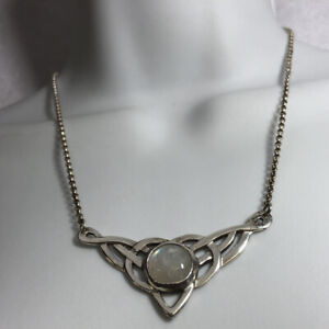 Tribal Knot Pendant Necklace Rainbow Moonstone Sterling Silver 925