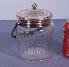 Antique Silver Plated Bronze and Crystal Ice Bucket/Lidded Jar