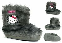 Girls New  Booties Hello Kitty Pull On Ankle Winter Slipper UK Size 8-2