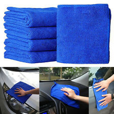 5Pcs Blue Soft Absorbent Wash Cloth Car Auto Care Microfiber Cleaning Towels AA