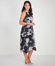 Katies Romance lined Key hole floral Print drawstring waist DRESS size 14 NEW