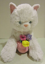 Build A Bear white plush cat- kitten with pot of flowers-You Are The Best  -  EC