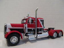 DCP 1/64 SCALE 379 PETERBILT (DAY CAB OPT) RED/BLACK WITH WHITE STRIPE