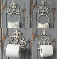 Antique Stlye White Toilet Roll Holder Towel Ring Vintage Chic French Bathroom