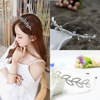 Wedding Bridal Girls Kids Pearl Crystal Leaves Hair Band Headband Crown Headwear