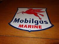 """VINTAGE 1956 """"MOBIL MOBILGAS MARINE"""" 11 3/4"""" PORCELAIN METAL GASOLINE & OIL SIGN"""