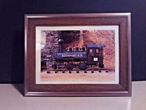 """ROCKPORT TRAIN ENGINE! HISTORY POSTCARD 4""""x6"""" MAINE ME UNUSED AND FRAMED"""