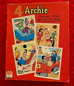 ARCHIE: 4 FRAME TRAY PUZZLES WHITMAN, 1972! BETTY, VERONICA, JUGHEAD! NO RESERVE