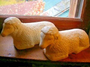 "2 Vintage Empire Blow Mold 10"" long Laying Sitting Sheep Lambs"