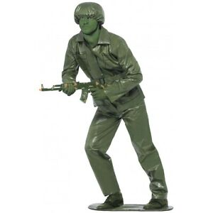 Green Army Man Costume Adult Plastic Toy Soldier Halloween Fancy Dress