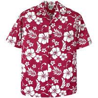 500-6849 Red Hawaiian Classic Shirt Tropical Island Flowers Hibiscus Plumeria