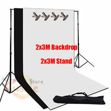 Large 2x3m Photography Studio Black White Backdrop Background Support Stand Kit