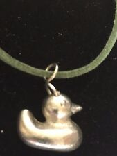 """Rubber Ducky Duck TG81 Fine English Pewter On 18"""" Green Cord Necklace"""