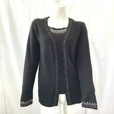 Vintage Napa Valley Women's Black Multicolored Embroidered Sweater Small