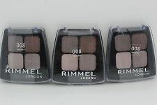3x Rimmel Colour Rush Quad Eye Shadow - 008 Bronzed, .14 Ounce (New & Sealed)