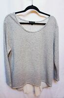 Lane Bryant Striped Black & Cream Lightweight Sweater Pleated Back Sz 14/16 FLAW
