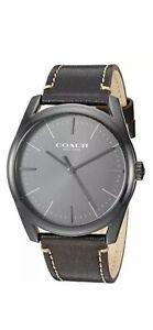 Coach Watch 14602400 Black Leather Strap Black Face Men's