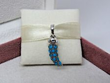 New w/Box Pandora Turquoise Amulet Corno Horn Dangle Pendant Charm 397203EN168