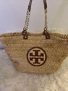 TORY BURCH Women's Large Brown Audrey Tote Bag Textured Straw Woven Basket Logo