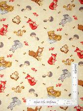 Mama Baby Animals Bunny Bear Owl Cotton Fabric HG&Co Hug & Loves By The Yard