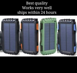 New 2021 Waterproof 25000mAh 2 USB Portable Charger Solar Power Bank For Phone