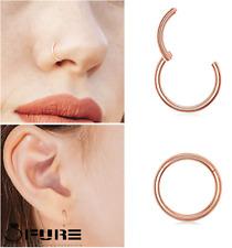 16G Titanium Septum Clicker Helix Rose Gold Cartilage Lip Labret Nose Ear Ring