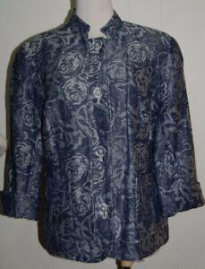 Coldwater Creek Linen Blend Blue Floral Jacquard Button 3/4 Sleeve Jacket P14