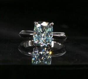 Blue Green Cushion Cut Moissanite Centre Stone 2 CT Ring Sizes 4 to 9 US