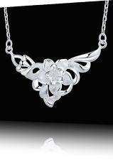 Joli, raffiné COLLIER en argent, chaîne, pendentif fleur, bijoux joaillerie Neuf