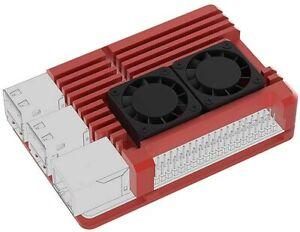 Raspberry Pi 4 Red Aluminum Case w/GPIO Extension Header, 2 Fans & Screws
