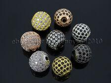 Pulsera De Bola Redondo Circón piedras preciosas Pave conector encanto perlas de plata oro rosa