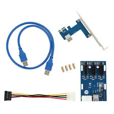 PCI-E 1X Expansion Kit 1to3 Ports Switch Multiplier Hub Riser Card USB Cable USA