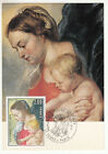 CARTE MAXIMUM FDC 1977 TIMBRE N° 1958 LA VIERGE A L ENFANT RUBENS TABLEAU ART