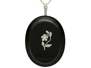 Black Onyx and 0.23ct Diamond, 18ct Gold Locket - Antique Circa 1880