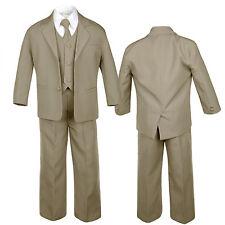 Dark Khaki Taupe Formal Wedding Suits Vest Set for Babies Toddlers Kids Boys