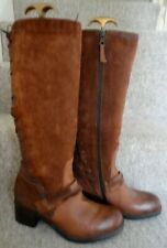 MODA IN PELLE Tan Ginger Suede & Leather Knee High Boots Lace Up Back 41 UK8