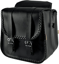 Willie & Max Black Braided Leather Universal Motorcycle Saddlebags Harley DYNA