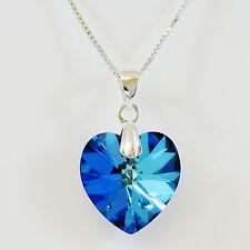 Argent Sterling Éléments Cristal Swarovski Collier Pendentif En Coeur Bermude