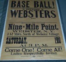 1900 Webster, New York, Original Baseball Broadside Sign/Poster, LG.  20.5 x 28