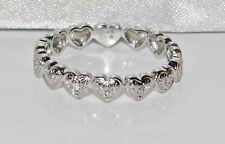 9ct White Gold Diamond Heart Full Eternity / Wedding Ring - size R