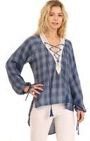 UMGEE Womens  Plaid Chic Pheasant Woven Long Puff Sleeves Top Blouse Shirt S M L