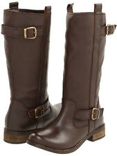 NEW MIA  LEATHER BOOTS 7.5 38  $500 LADIES BROWN RIDING BIKER BUCKLES